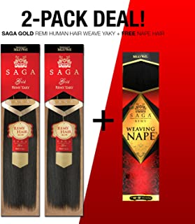 2-Pack DEAL ! SAGA GOLD Remi Human Hair Weave Yaky + Free Nape Hair (18
