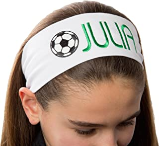 Personalized Monogrammed Embroidered Soccer Ball Patch Cotton Stretch Headband CHOOSE YOUR CUSTOM COLORS FROM CHARTS IN THIS LISTING