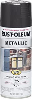 Rust-Oleum 7250830 Stops Rust Metallic Spray Paint, 11 oz, Black Night