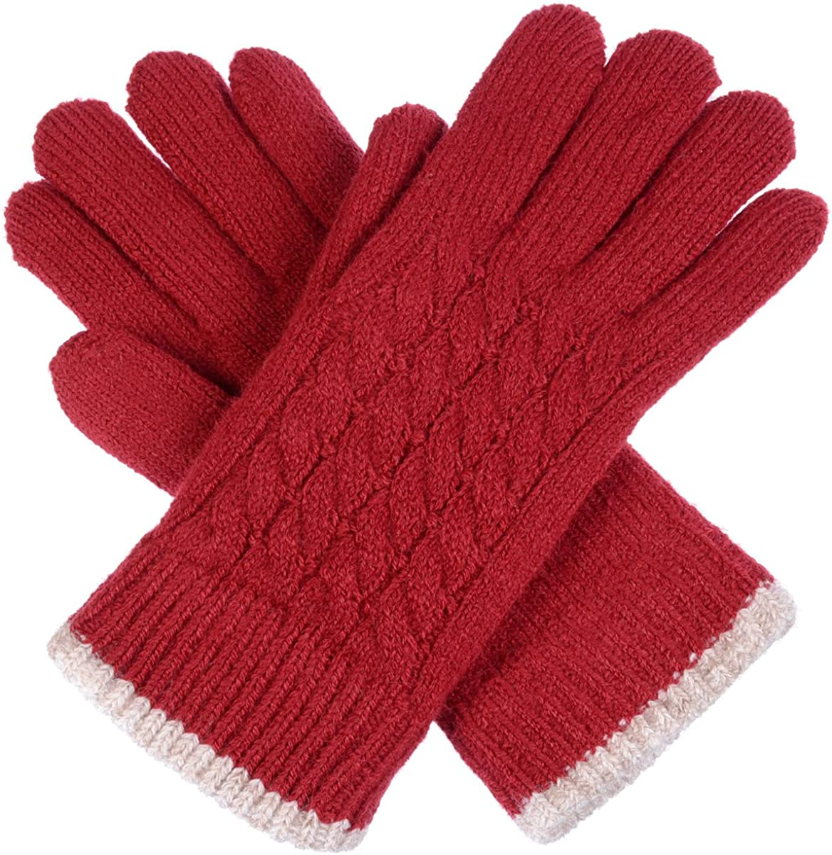BYOS Women's Winter Classic Cable Warm Plush Fleece Lined Knit Gloves