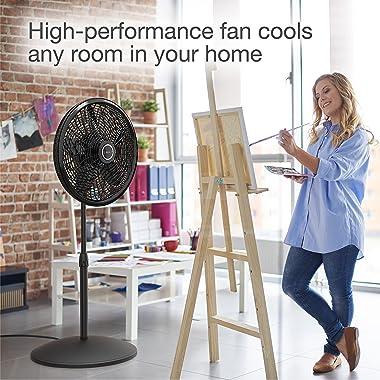 Lasko 1827 18″ Elegance & Performance Adjustable Pedestal Fan, Black - Features Oscillating Movement Tilt-back Fan Head
