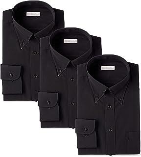 [ドレスコード101] ワイシャツ 制服・ユニフォームにぴったり 黒シャツ 3枚セット 形態安定 豊富なサイズ展開 半袖 長袖 レギュラー ボタンダウン BLACK-3SET メンズ
