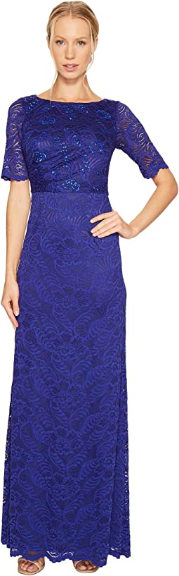 Adrianna Papell - Shirred Stretch Lace Gown