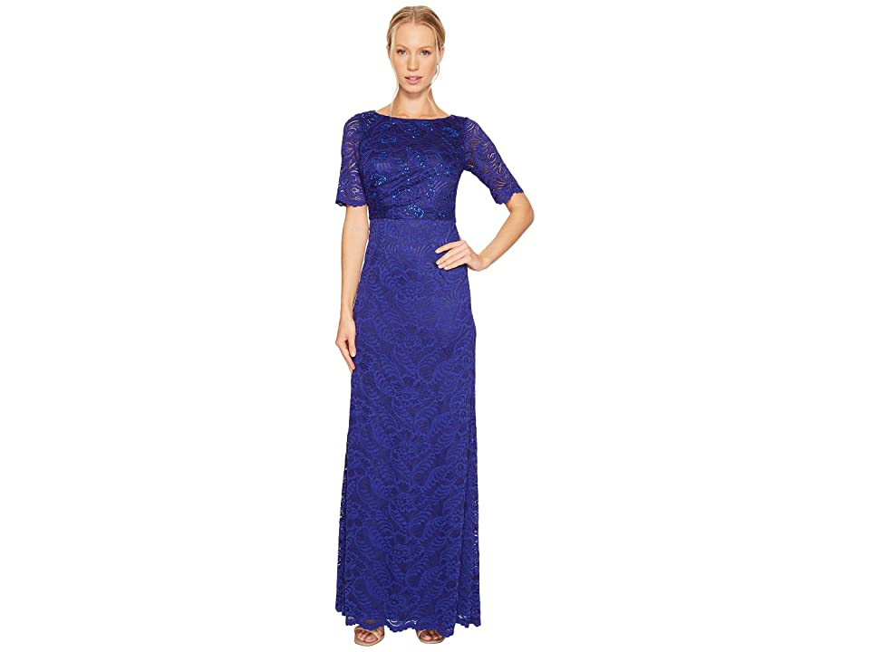 Adrianna Papell Shirred Stretch Lace Gown (Neptune) Women