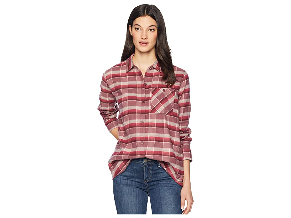 Burton Grace Flannel (Rose Brown Sunset Plaid) Women's Clothing, Red