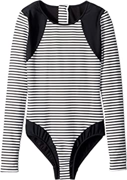 Stripe Long Sleeve Surf Tank One-Piece (Little Kids/Big Kids)