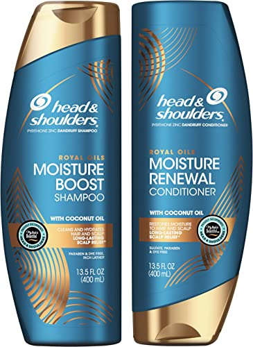 Head and Shoulders Shampoo and Conditioner, Moisture Renewal, Anti Dandruff Treatment and Scalp Care, Royal Oils Coll...