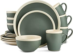 Stone Lain Dinnerware Set, 16 Piece, Green and Cream