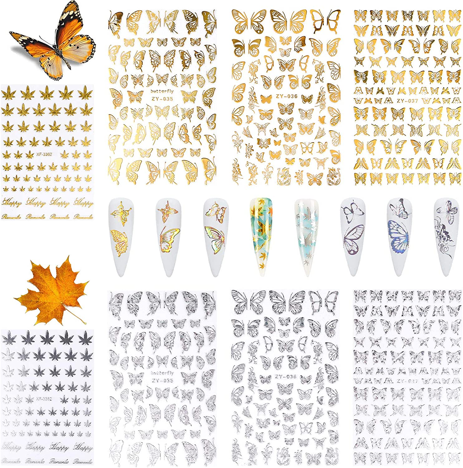 Butterfly Nail Art Stickers and Leaves T San Jose Year-end gift Mall Sheets 8 Fall