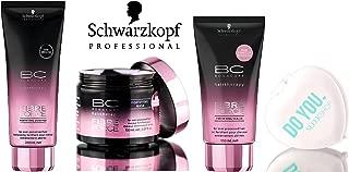 Schwarzkopf BC Bonacure FIBRE FORCE Fortifying Shampoo, Mask, & Sealer TRIO Set (with Sleek Compact Mirror) (6.76 oz + 5.07 oz TRIO Kit)
