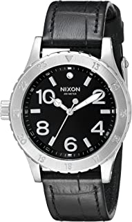 Nixon Women's A4671886 38-20 Stainless Steel Watch With Black Leather Band