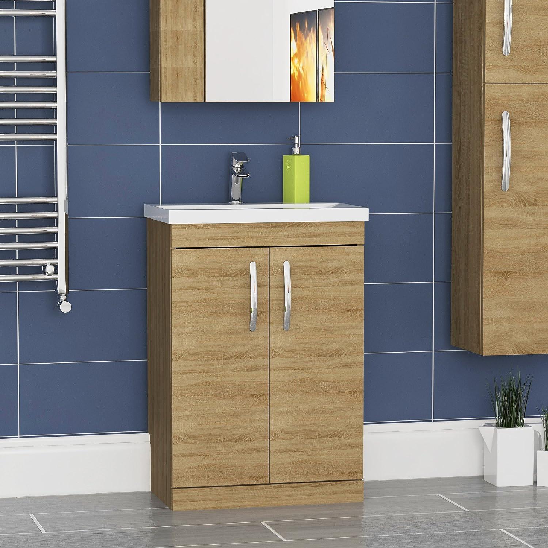 Royal Bathrooms Floor Standing Vanity Unit 600mm Minimalist Basin Sink Cabinet 2 Doors Storage Furniture Natural Oak Finish Athena