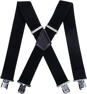 サスペンダー 50mm幅広 メンズ 大きいサイズ 男女兼用 黒 wuernine X型 ブラック フォーマル 本革 しっかりとホールド 調節可能 吊りバンド ビジネス カジュアル(12月の品質保証)