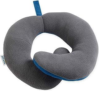 Cosomi 旅行用枕 車や飛行機でもっとも快適な睡眠が取れる トラベルピロー ネックピロー U型まくら 首枕 飛行機 携帯枕 旅行用品 唯一の頭、首、下顎全般サポートまくら 持ち運び便利 どこでも最大限で快適さをお楽しめる 特許製品 大人サイズ 男女兼用(グレー/ブルー)