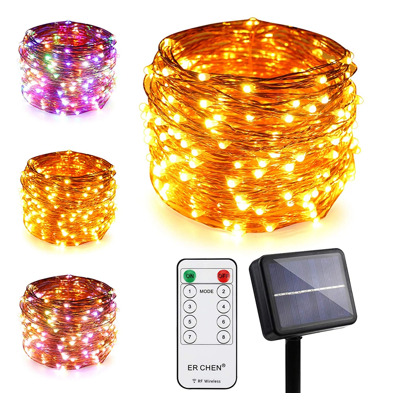 ErChen Dual-Color Solar Powered LED String Lights