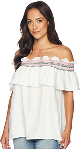 Off the Shoulder Ruffled Top with Ric Rac Trim
