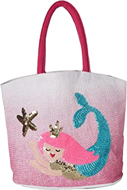 Mud Pie Mermaid Straw Tote