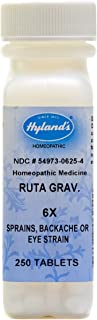 Hyland's Ruta Graveolens 6X Tablets, Natural Relief of Sprains, Backache or Eye Strain, 250 Count