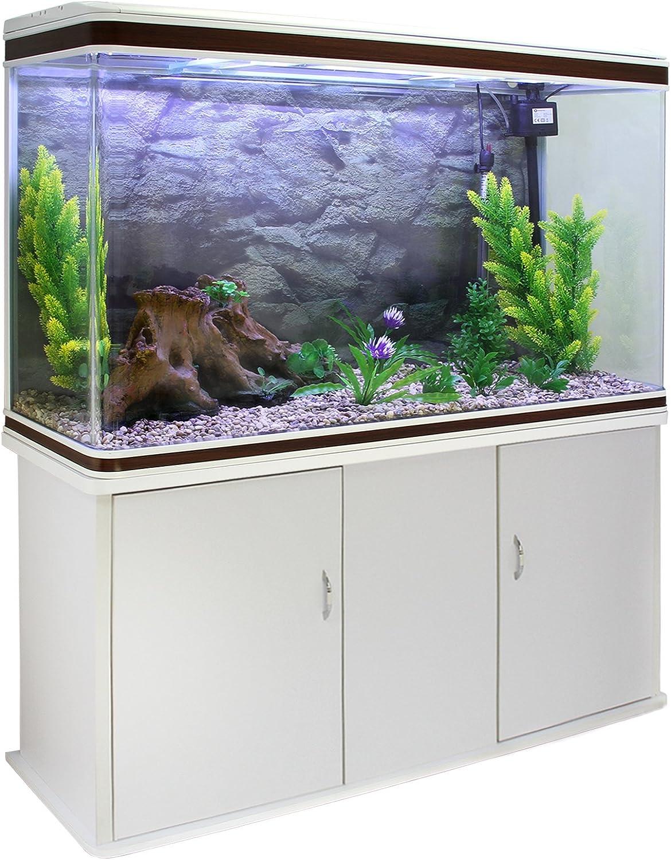 MonsterShop Fish Tank Aquarium Large Marine Tropical Salt Water & Complete Starter Kit, Filter, Air Pump, Heater Accessories White Cabinet, Natural Gravel 4ft 300L