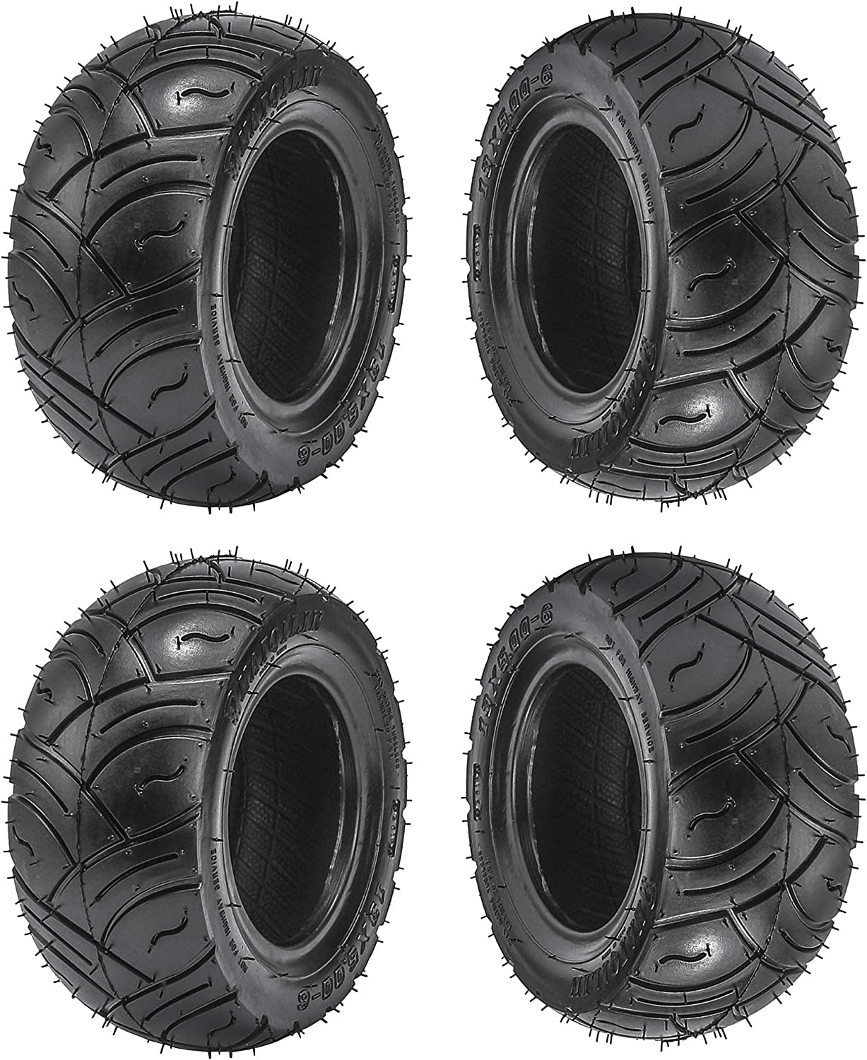 Fuerduo 4PCS 13x5-6 Recommendation Tubeless Tire for Mow Kart Recommendation Buggy Quad Go ATV