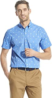 IZOD Men's Breeze Short Sleeve Button Down Patterned Shirt