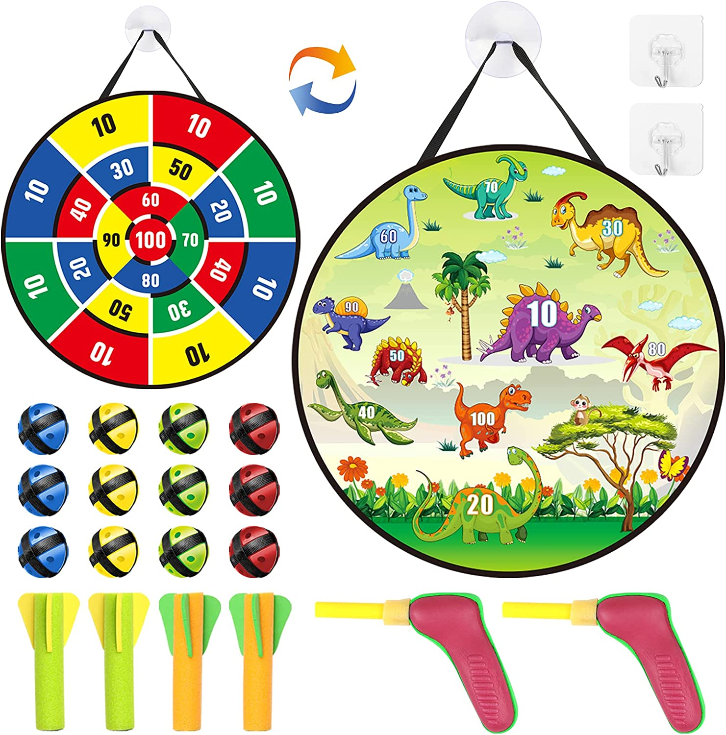 Dart Board for Kids, Dart Board Game Set with 12 Sticky Balls 2