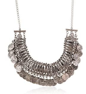 LUREME Vintage Engraved Coin Bib Statement Necklace Clavicle Necklace (01003295)