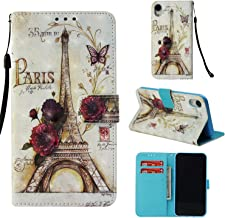 iPhone XR Case, Paris Eiffel Tower Floral Pattern 3D Painting Wristlet Magnetic Wallet Flip Case Stand for iPhone XR (2018) with Stylus