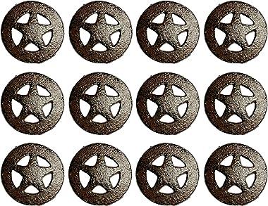 Urbalabs Western Rustic Texas Star Cast Iron Kitchen Cabinet Rustic Brown Western Star Cabinet Knobs & Farmhouse 1.5 inch