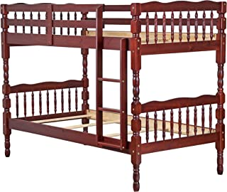 Palace Imports 100% Solid Wood Arlington Twin/Twin Bunk Bed, Mahogany, 8 Slats Included. Optional Pack of 18 Slats, Trundle, Drawers, Rail Guard Sold Separately. Requires Assembly.