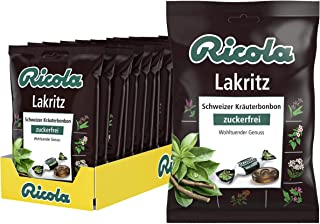 Ricola Lakritz, Schweizer Kräuterbonbon, 18 x 75g Beutel, ohne Zucker, Wohltuender Genuss