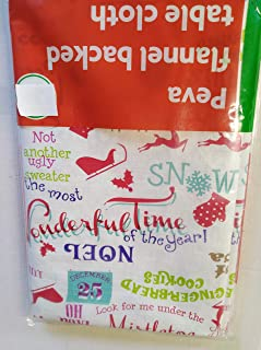 Christmas Tablecloth Peva 52 x 70 inchwith Sayings Wonderful TIme of The Year, Mistletoe, Gingerbread, Reindeer, Hot Cocoa, Ugly Sweater, Noel,Snow, St. Nick Etc
