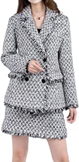 Women's Tweed Suiting Tow Piece Set Jacket Short Skirt Suit Fringe Coat Fall Winter Blazer with Pockets