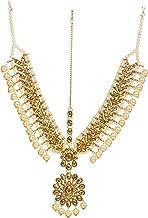 Bindhani Indian Bollywood Style Wedding Matha Patti Gold Plated Maang Tikka Bridal Traditional Mang Tika Jewellery Damini Bridesmaid Hair Accessories Bahubali Head Jewelry for Women