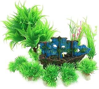 PietyPet - Decoración para peceras, diseño de roca de resina y plantas de plástico, 9 piezas, para acuario y pecera