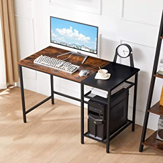YMYNY Computer Desk with 2 Adjustable Storage Shelves, 47 Inch Industrial Writing Desk for Home Office Work, Wood Look PC ...