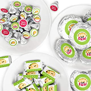 Big Dot of Happiness Taco 'Bout Fun - Mini Candy Bar Wrappers, Round Candy Stickers and Circle Stickers - Mexican Fiesta Candy Favor Sticker Kit - 304 Pieces
