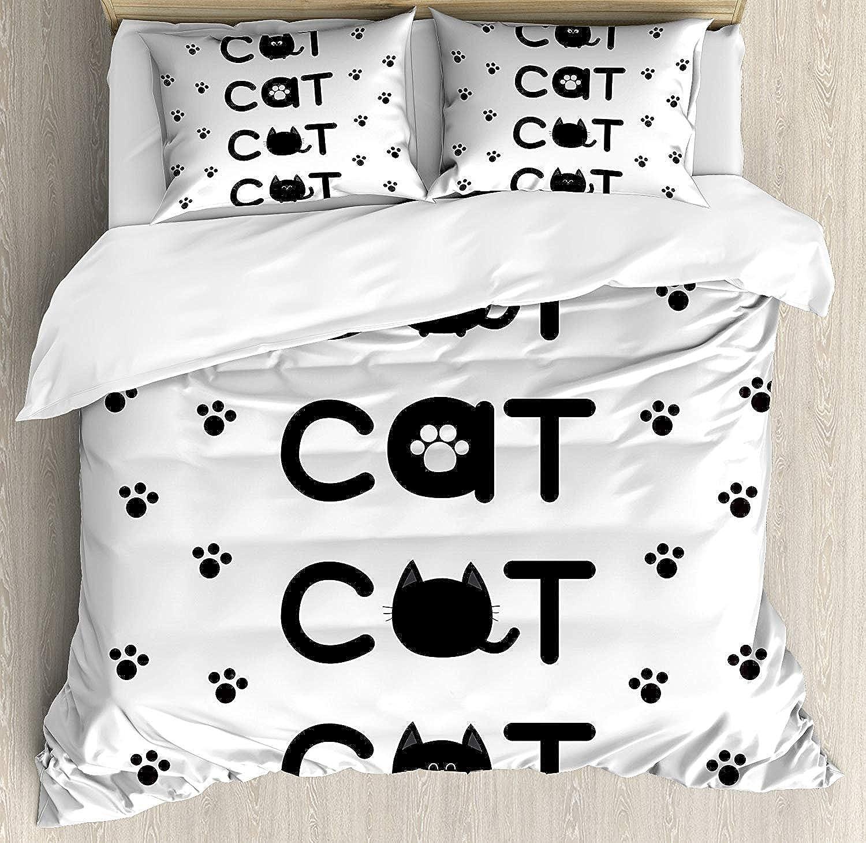 CyCoShower Kitty Duvet Cover Soft Microfiber 4 Piece Piece Piece