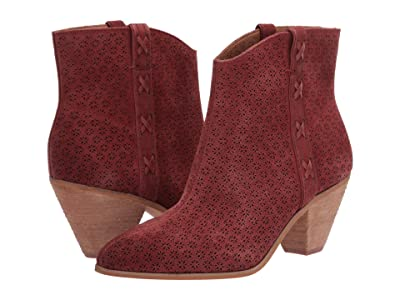 FRYE AND CO. Maley Perf Bootie (Light Burgundy Suede/Waxed Leather) Women