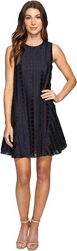 Sleeveless Dot Burnout Jacquard Sleeveless Trapeze Dress