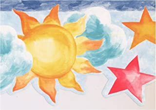 Wallpaper Border - Sun Clouds Stars Moon Teal Scalloped Kids Wall Border Retro Design, Prepasted Roll 15 ft. x 6 in.