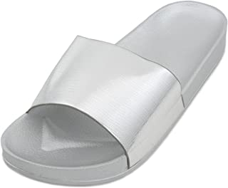 Sandrocks Ladies Metallic Pool Slide Sandal Flip Flop