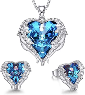 MXIN Angel Wing Heart Necklaces and Earrings Embellished with Crystals from Swarovski 18K White Gold Plated Jewelry Set Gifts for Women White Gold Plated Blue