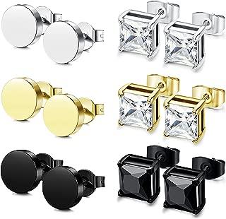 JOERICA 6 Pairs Stainless Steel Stud Earrings for Men Women CZ Stud Earrings 4-8MM