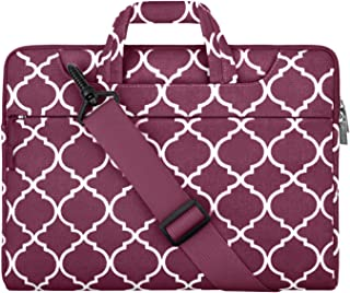 MOSISO Laptop Shoulder Bag Compatible with 2019 MacBook Pro 16 inch,15 15.4 15.6 inch Dell Lenovo HP Asus Acer Samsung Sony Chromebook,Canvas Geometric Pattern Briefcase Sleeve, Burgundy Quatrefoil