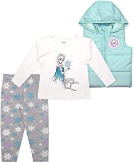Disney 3-Piece Frozen Leggings Set for Girls with Elsa Shirt and Vest