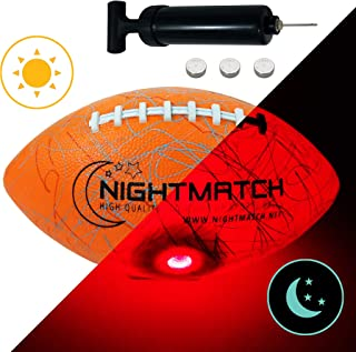 NIGHTMATCH Light Up Football - Jumble Edition - INCL BALL PUMP and SPARE BATTERIES - Inside LED lights up when kicked - Glow in the Dark Football - Size 6 - Official Size & Weight - Night-Light Sports