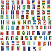 Juvale 100-Piece International Flags - 80-Feet Small Country Flags Banner of The World - Multi-Cultural Party Hanging Decorations, 100 Different Assorted Countries, 5.2 x 9.2 inches Each Flag