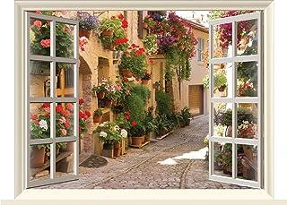 """Fabulous Décor - Beautiful Flowers Street Mediterrenian 3D Window Wall Art View Premium Vinyl Decal Sticker Wall 17""""H X 2..."""