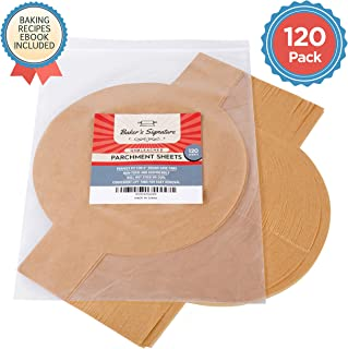 9 Inch Rounds Pack of 120 Parchment Paper Baking Sheets by Baker's Signature | Precut Silicone Coated & Unbleached – Will Not Curl or Burn – Non-Toxic & Comes in Convenient Packaging